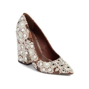 Tory Burch Francesca Embroidered Pump Faded Coffee